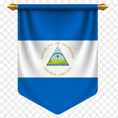 3D realistic pennant with flag of Nicaragua on transparent background PNG