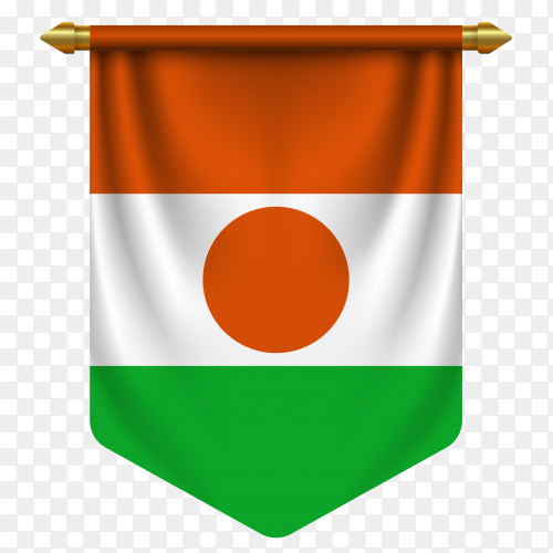 3D realistic pennant with flag of Niger on transparent background PNG
