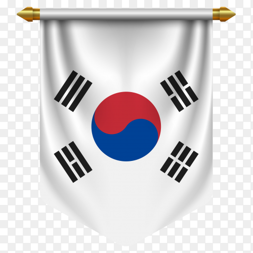 3D realistic pennant with flag of South Korea on transparent background PNG