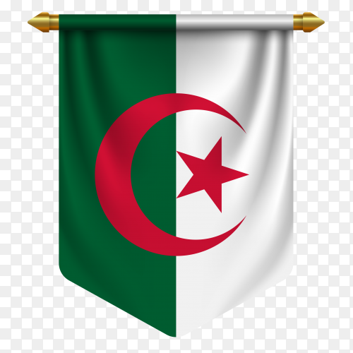 3D realistic pennant with flag of Algeria on transparent background PNG