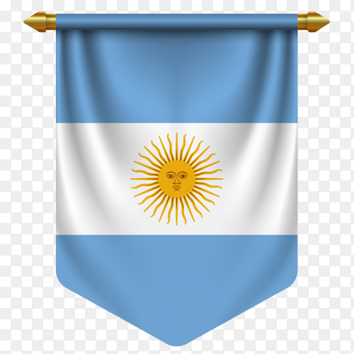 3D realistic pennant with flag of Argentina on transparent background PNG