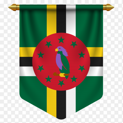 3D realistic pennant with flag of Dominica on transparent background PNG
