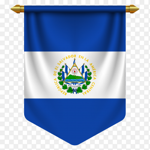 3D realistic pennant with flag of El Salvador on transparent background PNG