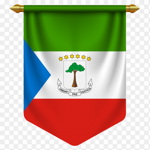 3D realistic pennant with flag of equatorial guinea on transparent background PNG