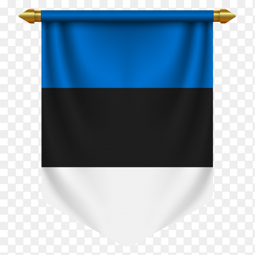 3D realistic pennant with flag of Estonia on transparent background PNG