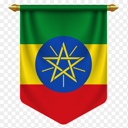 3D realistic pennant with flag of Ethiopia on transparent background PNG