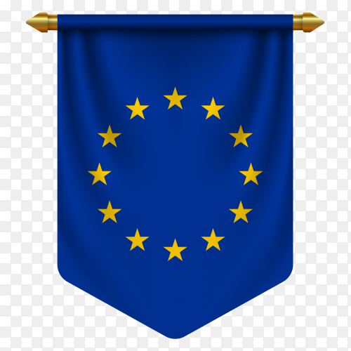 3D realistic pennant with flag of European union on transparent background PNG
