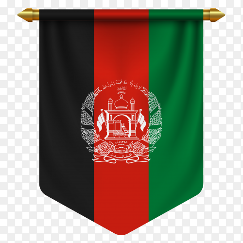 3D realistic pennant with flag of Afghanistan on transparent background PNG