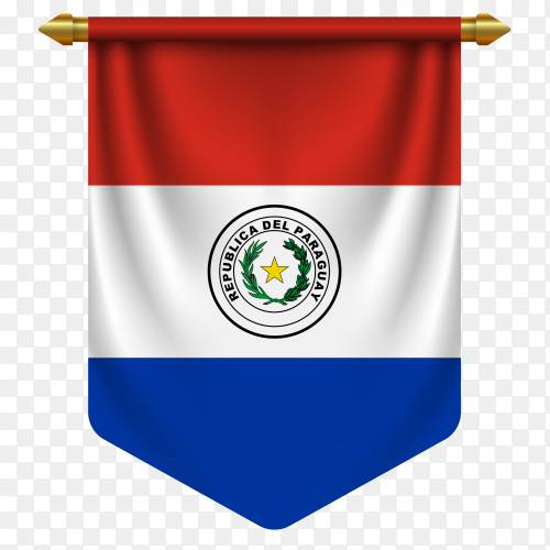 3D realistic pennant with flag of Paraguay on transparent background PNG