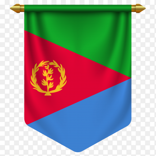 3D realistic pennant with flag of Eritrea on transparent background PNG