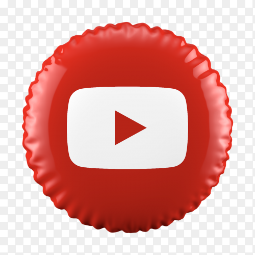 3D red balloon YouTube icon on transparent background PNG