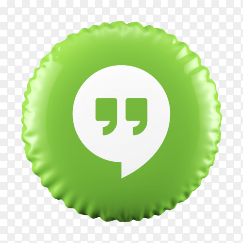3d Green Balloon Hangout icon on transparent background PNG