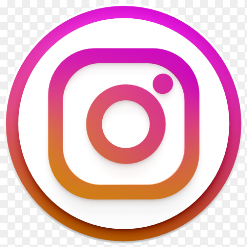 3d style Instagram social media icon on transparent background PNG