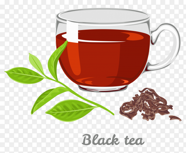 A cup of black tea on transparent background PNG