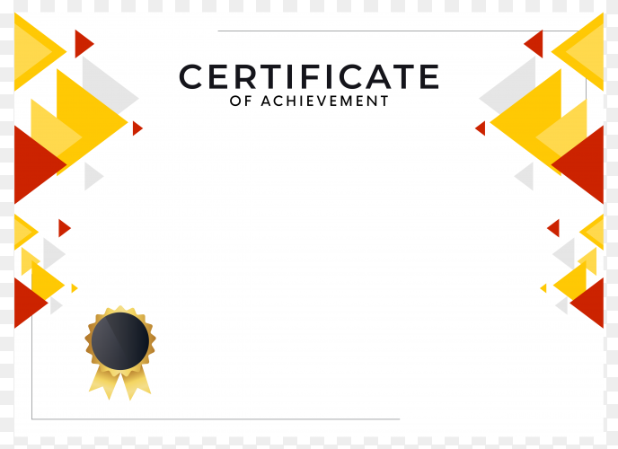 Abstract geometric certificate design template on transparent background PNG
