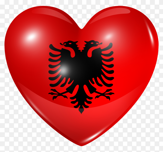 Albania flag in heart shape on transparent background PNG