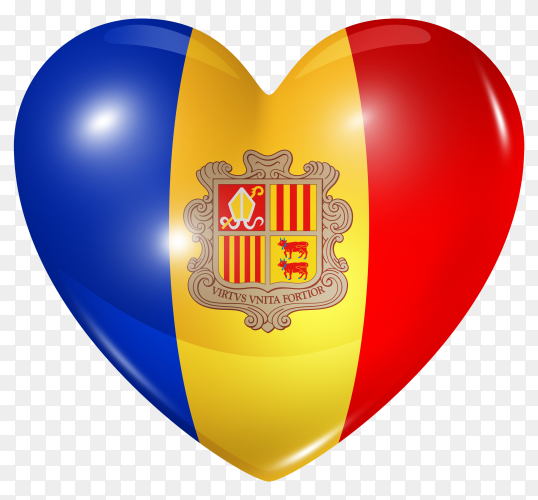 Andorra flag in heart shape on transparent background PNG