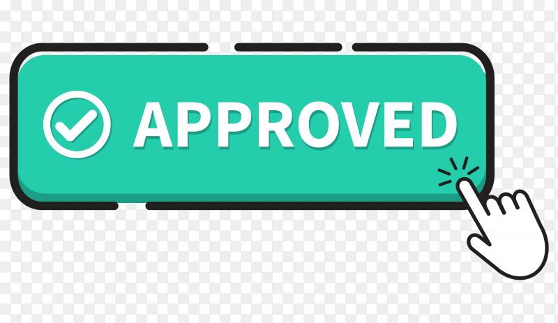 Approved button icon on transparent background PNG