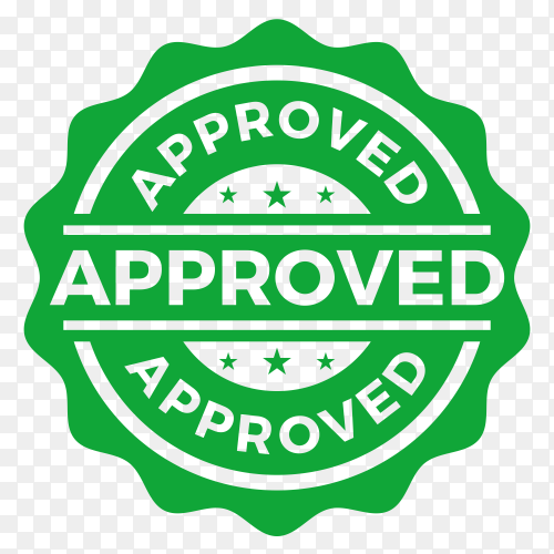 Approved seal stamp logo on transparent background PNG