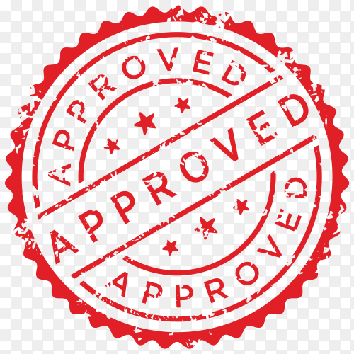 Approved stamp on transparent PNG