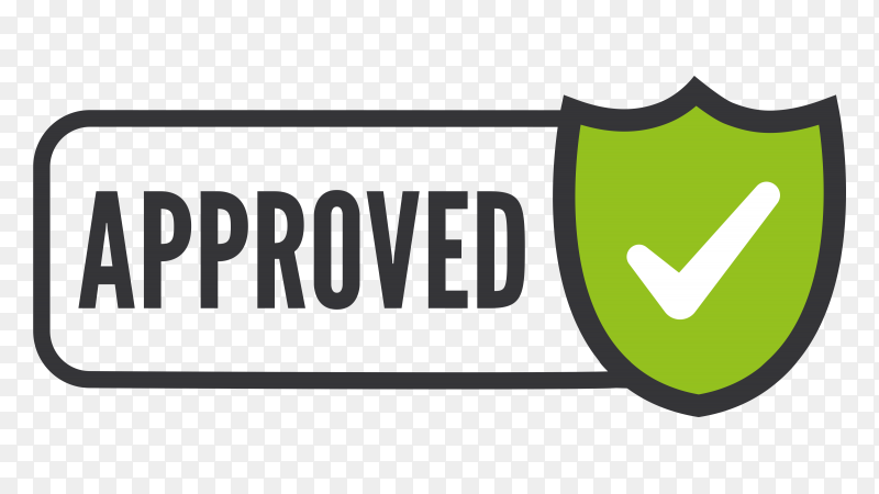 Approved stamp on transparent background PNG