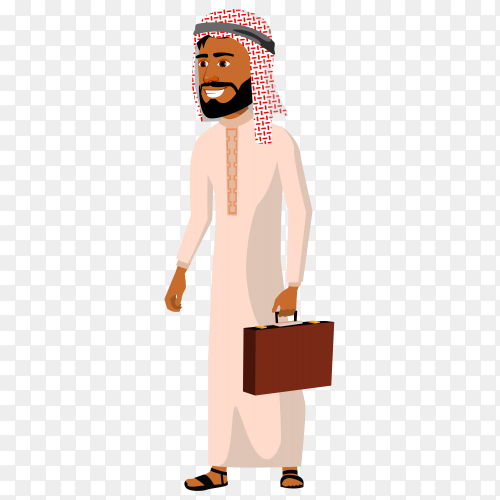Arab businessman cartoon character on transparent background PNG