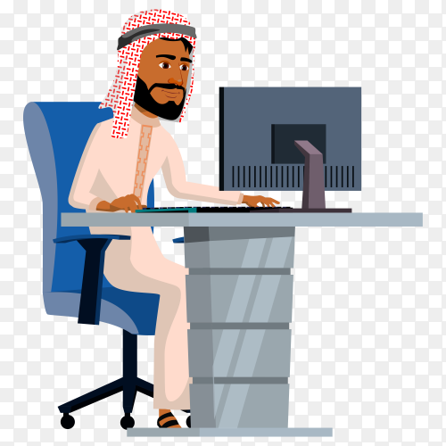 Arab businessman using computer in modern office on transparent background PNG