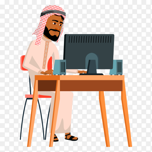 Arab businessman working in office on transparent background PNG