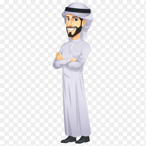Arab man cartoon character on transparent background PNG