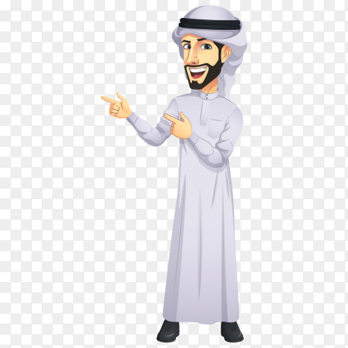 Arab man cartoon character premium vector PNG