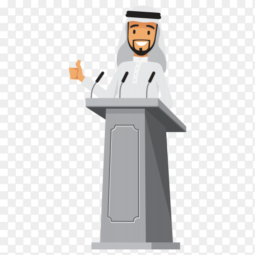Arabic businessman standing at tribune with microphones making a speech on transparent background PNG