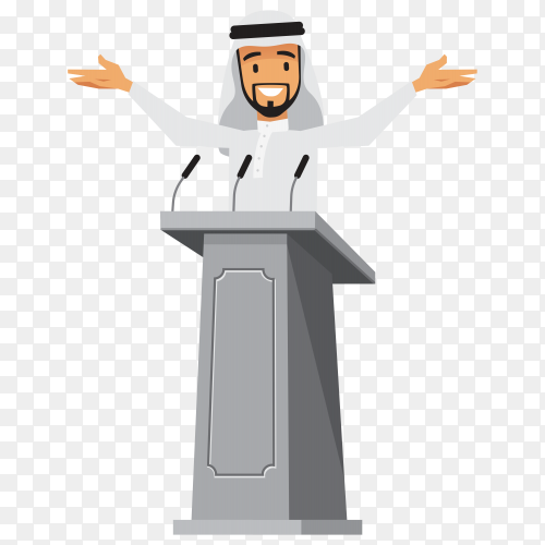 Arabic businessman standing at tribune with microphones on transparent background PNG