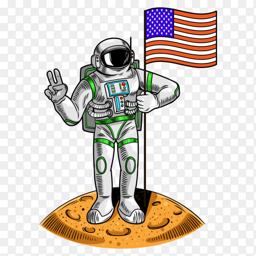 Astronaut on moon hold American USA flag on transparent background PNG