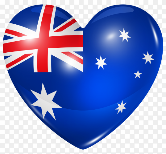 Australia flag in heart shape on transparent background PNG