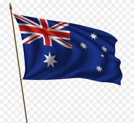 Australia waving flag on flagpole on transparent background PNG