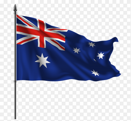 Australia waving flag on transparent background PNG