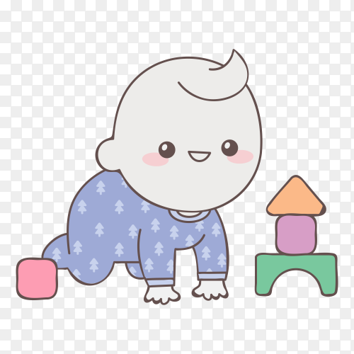 Baby boy playing with cubes on transparent background PNG