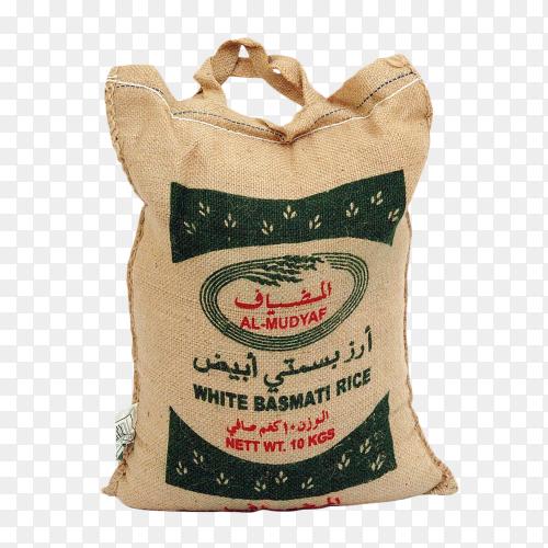 Bag of white Rice Basmati on transparent background PNG