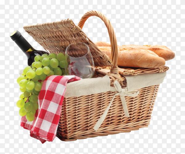 Basket filled fruits and bread on transparent background PNG