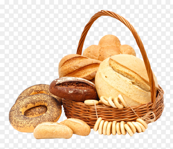 Basket with various white and whole-grain bread on transparent background PNG