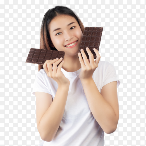 Beautiful girl with bar of chocolate on transparent background PNG