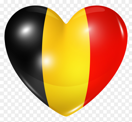 Belgium flag in heart shape on transparent background PNG
