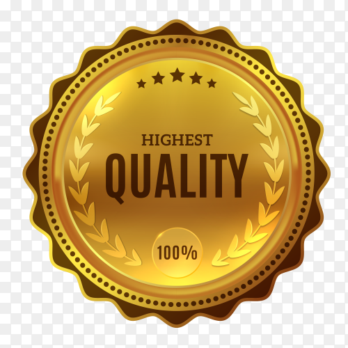 Best certification golden quality badge illustration on transparent background PNG