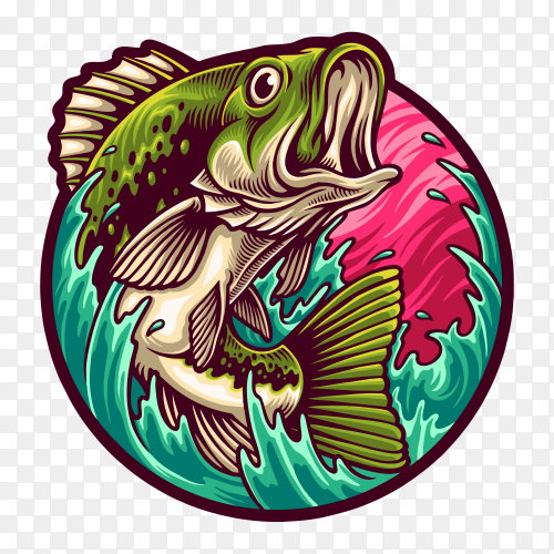 Big bass fishing illustration on transparent background PNG