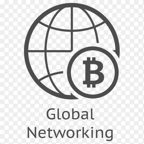 Bitcoin Global Networking icon on transparent background PNG