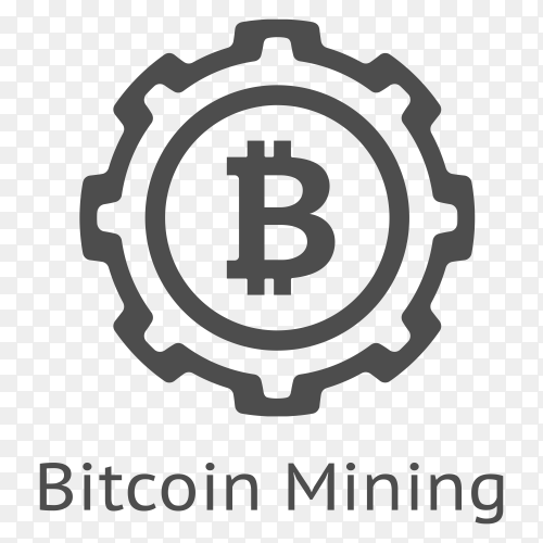 Bitcoin mining logo on transparent background PNG