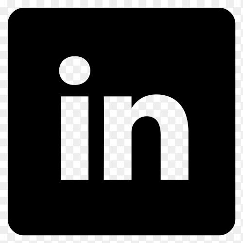 Black LinkedIn logo design on transparent background PNG