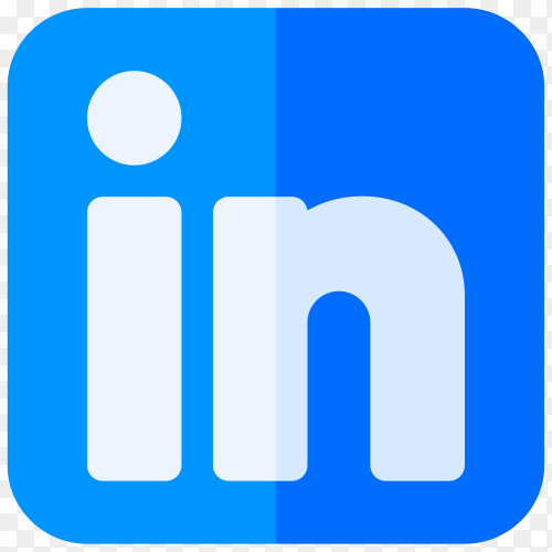 Blue Linkedin icon isolated on transparent background PNG