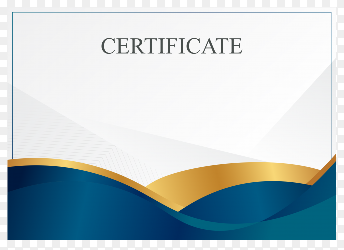 Blue and gold diploma certificate border template with luxury badge and modern line pattern for document print on transparent background PNG
