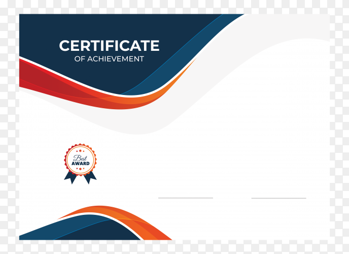 Blue and orange waves certificate on transparent background PNG